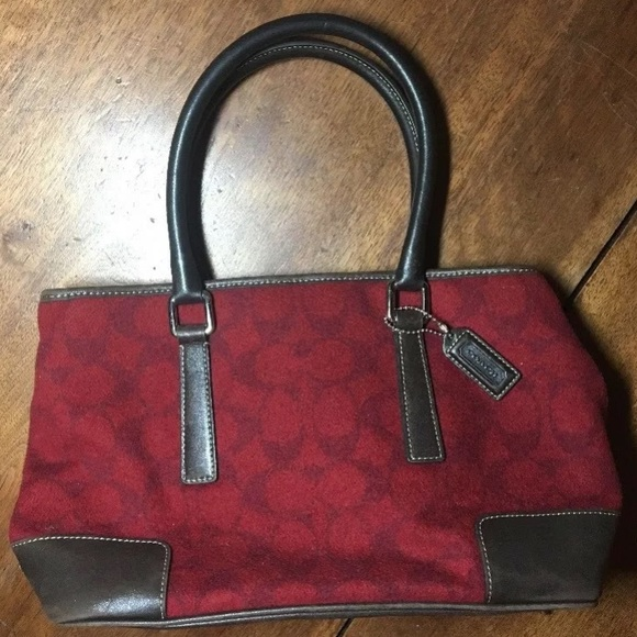 Coach Handbags - Rare Coach red wool w/ brown leather trim purse